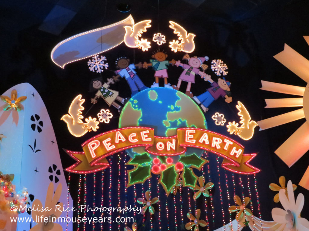 Peace on earth finale scene in It's a Small World.