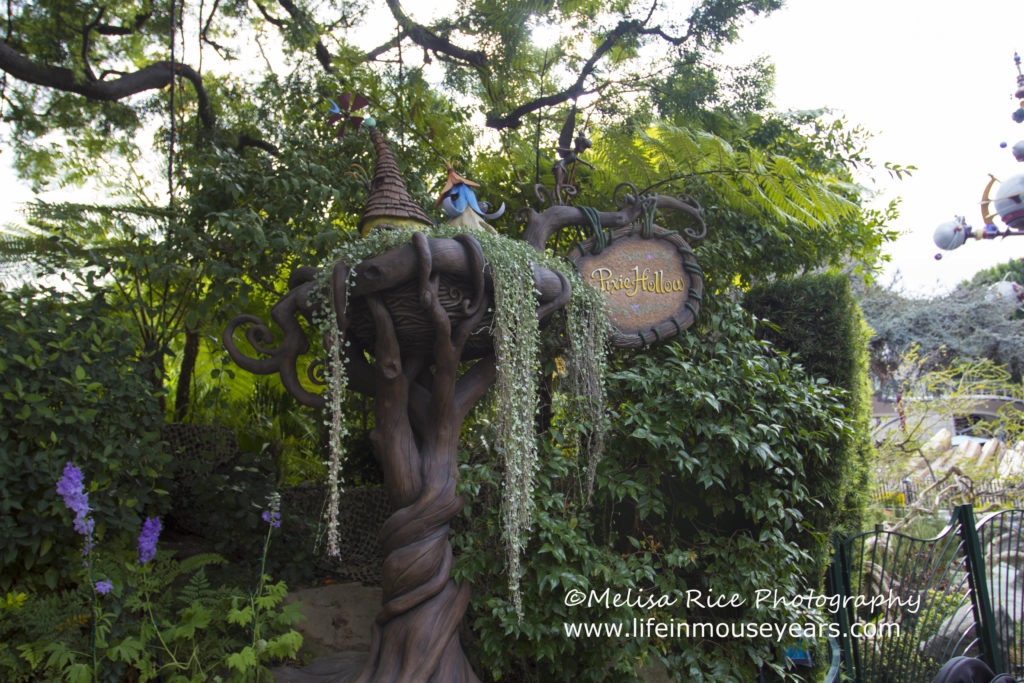 Meet Tinkerbell at Pixie Hollow in Disneyland. Entrance sign.