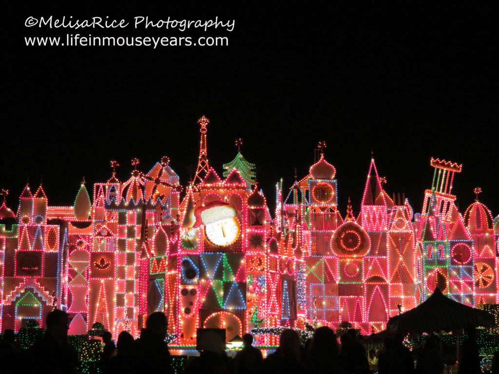 It's a Small World in Disneyland with thousands of holiday lights all over the facade.