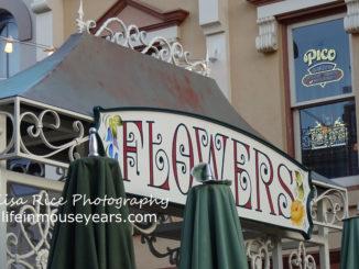 Flower sign on Main Street in Disneyland.