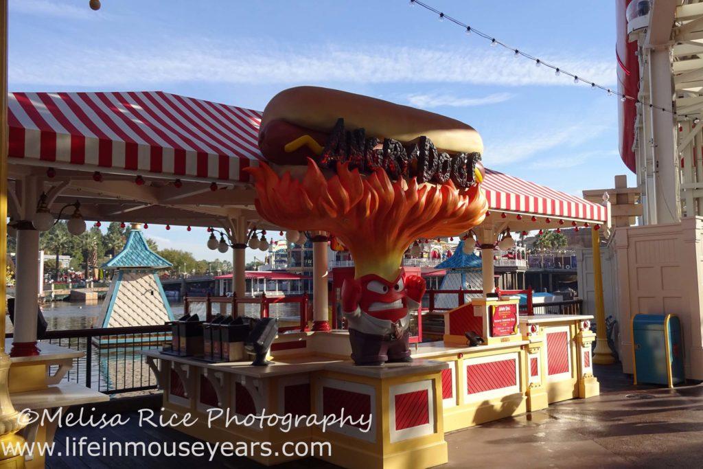 Exploring Pixar Pier www.lifeinmouseyears.com #lifeinmouseyears #pixarpier #angrydogs #food #yum #hotdogs